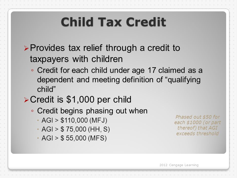 Child Tax Credit Provides tax relief through a credit to taxpayers with children.