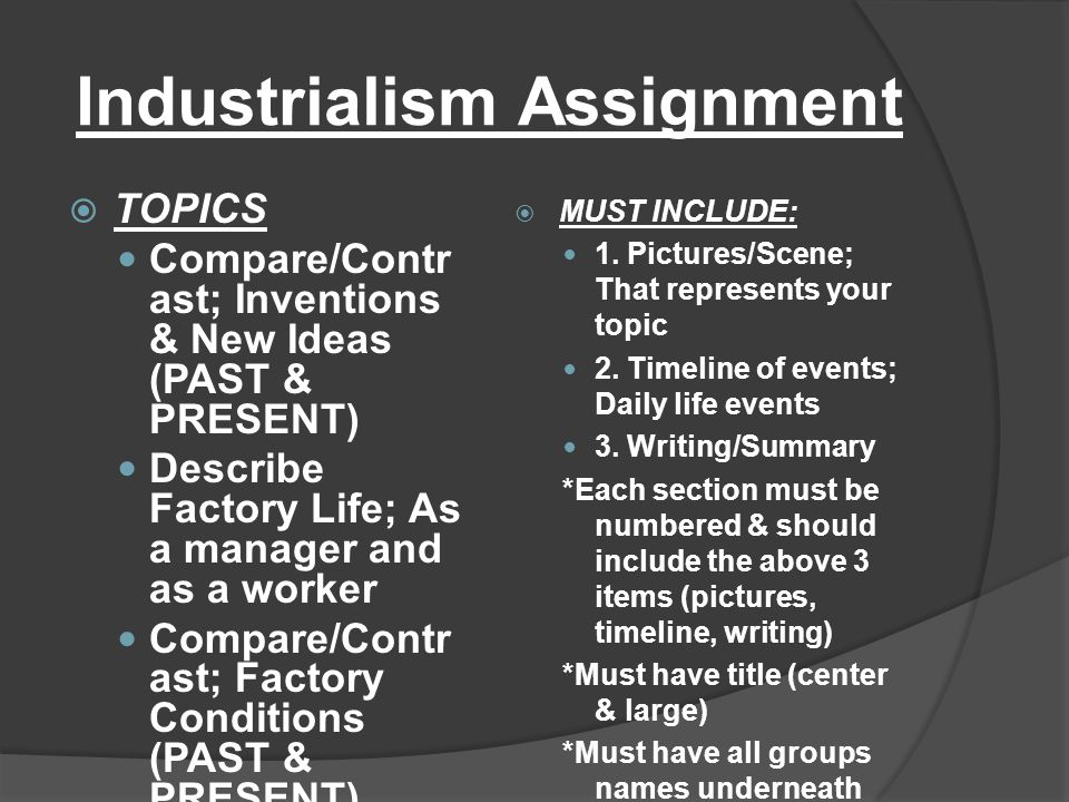 Industrialism Assignment