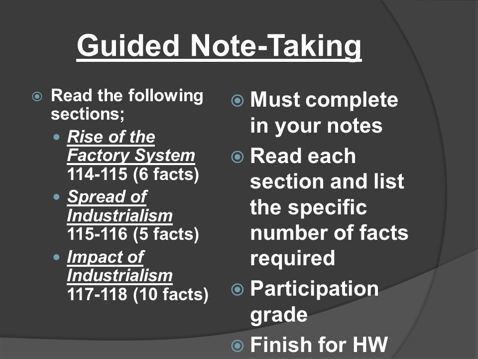 Guided Note-Taking Must complete in your notes