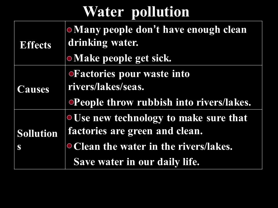 Water pollution Many people don't have enough clean drinking water.