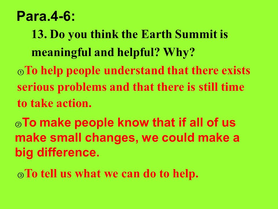 Para.4-6: 13. Do you think the Earth Summit is meaningful and helpful Why