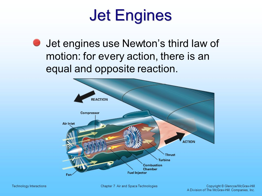 Jet Engines Jet engines use Newton's third law of motion: for every action, there is an equal and opposite reaction.