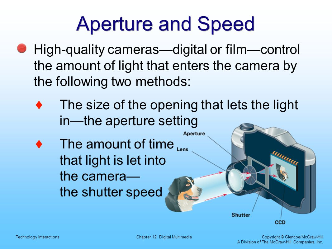 Aperture and Speed High-quality cameras—digital or film—control the amount of light that enters the camera by the following two methods: