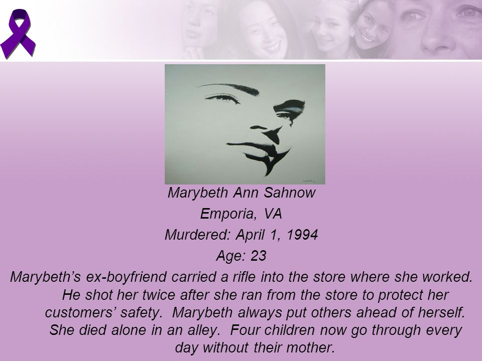 Marybeth Ann Sahnow Emporia, VA Murdered: April 1, 1994 Age: 23