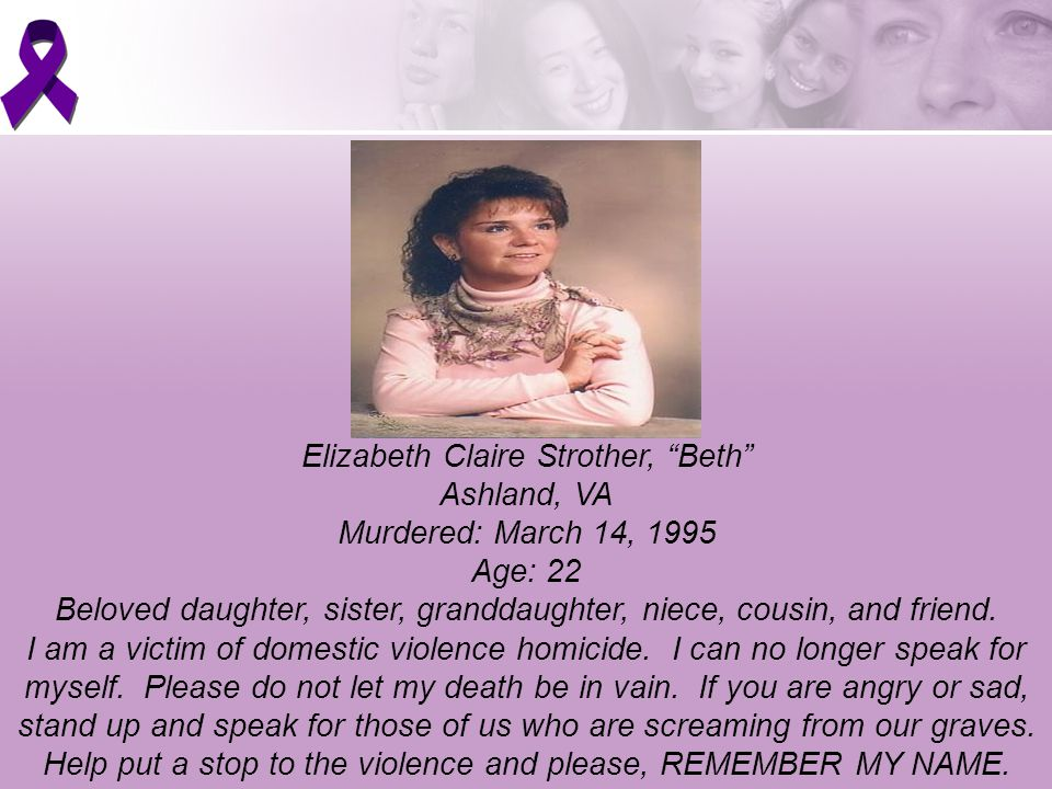 Elizabeth Claire Strother, Beth Ashland, VA Murdered: March 14, 1995