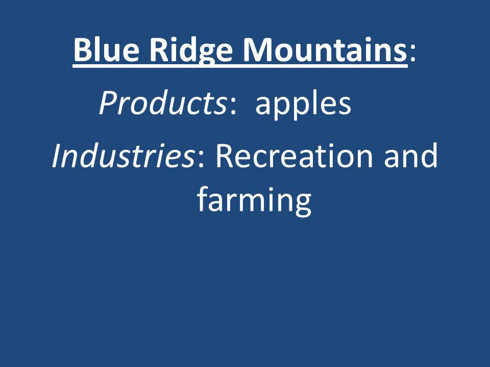 Blue Ridge Mountains: Products: apples Industries: Recreation and farming