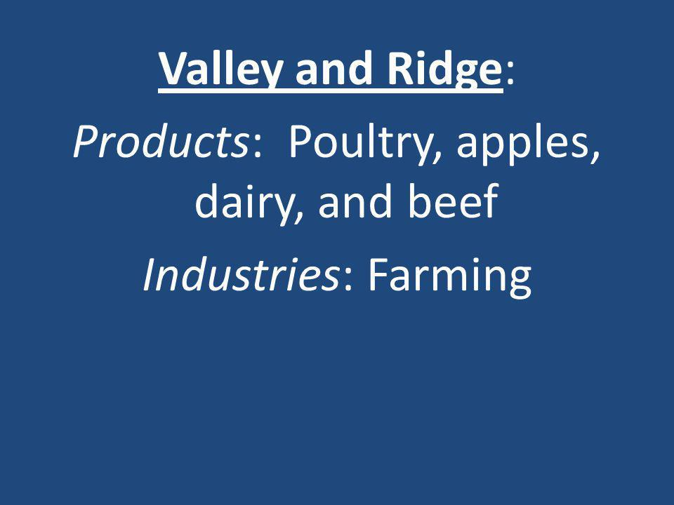 Valley and Ridge: Products: Poultry, apples, dairy, and beef Industries: Farming