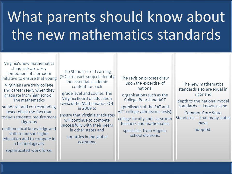 What parents should know about the new mathematics standards