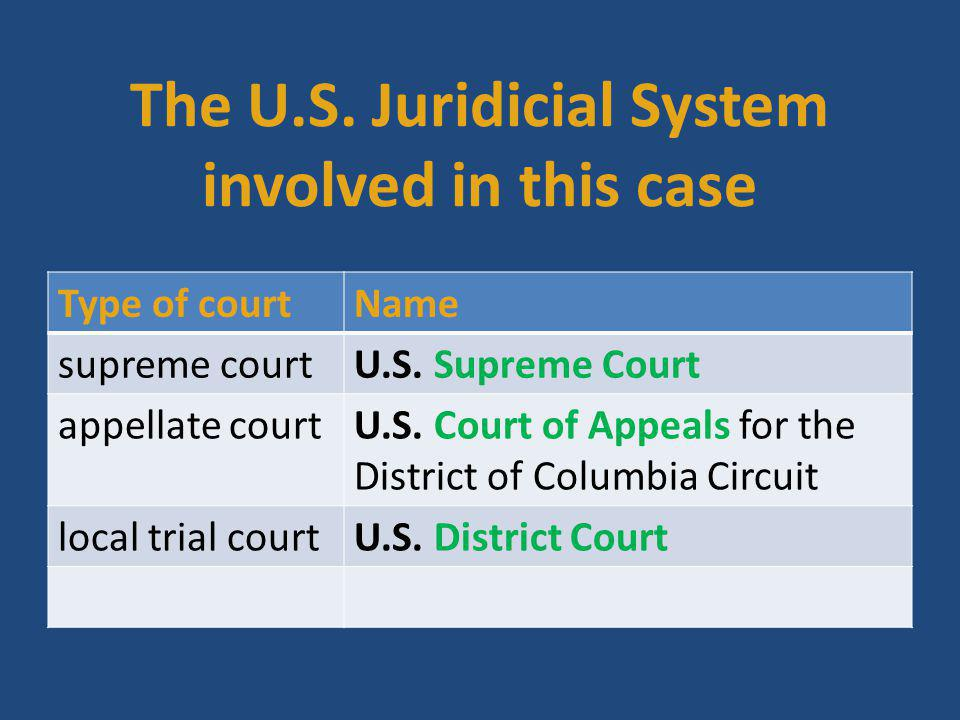 The U.S. Juridicial System involved in this case