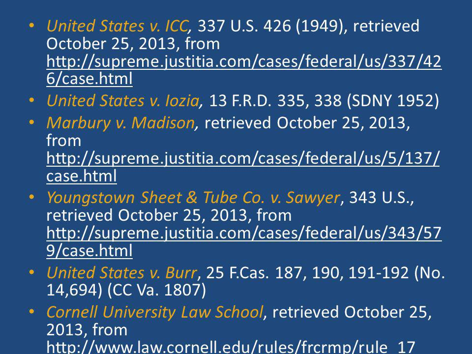 United States v. ICC, 337 U.S. 426 (1949), retrieved October 25, 2013, from http://supreme.justitia.com/cases/federal/us/337/426/case.html