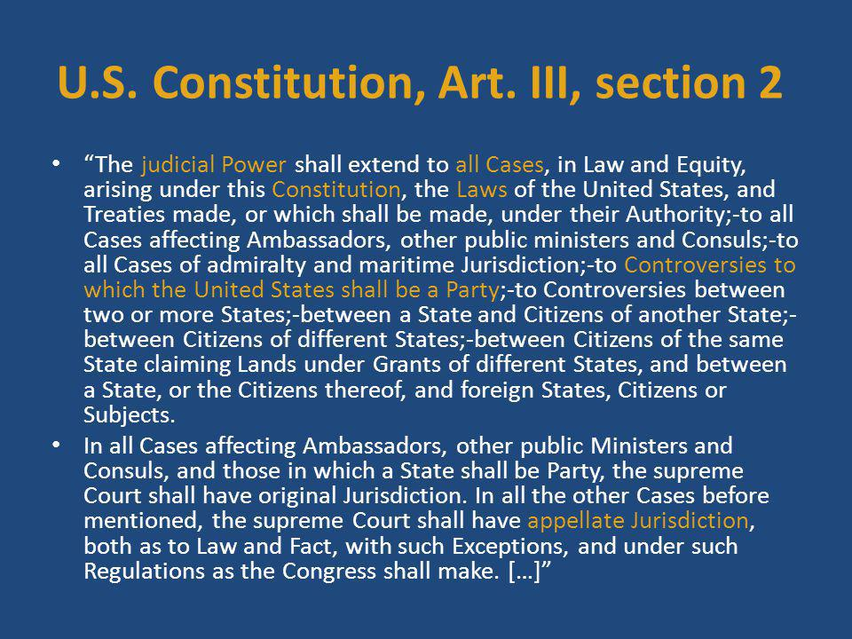 U.S. Constitution, Art. III, section 2