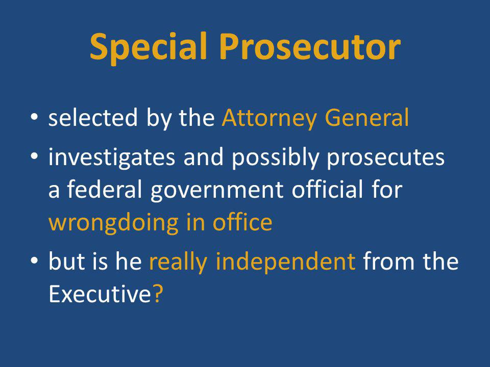 Special Prosecutor selected by the Attorney General