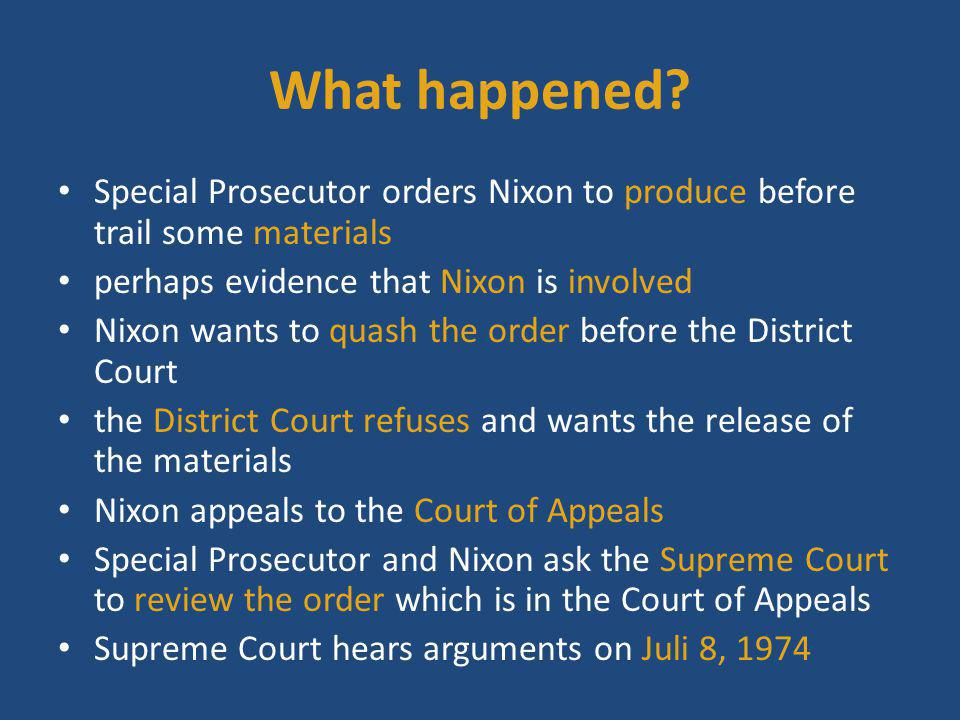 What happened Special Prosecutor orders Nixon to produce before trail some materials. perhaps evidence that Nixon is involved.