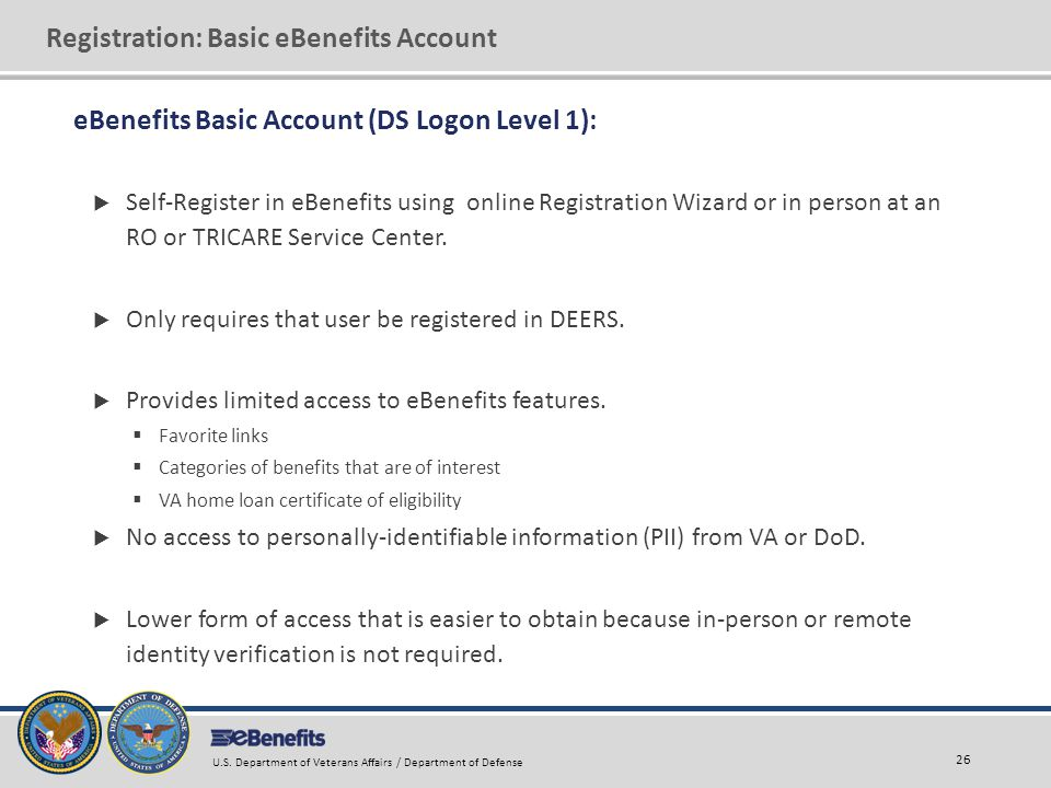 Registration: Basic eBenefits Account