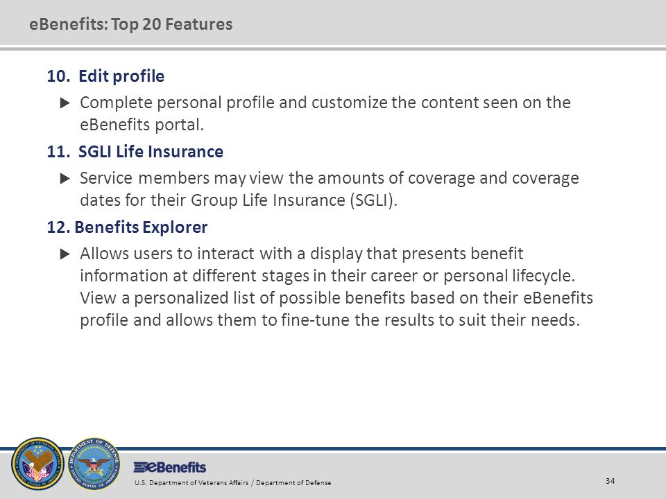 eBenefits: Top 20 Features