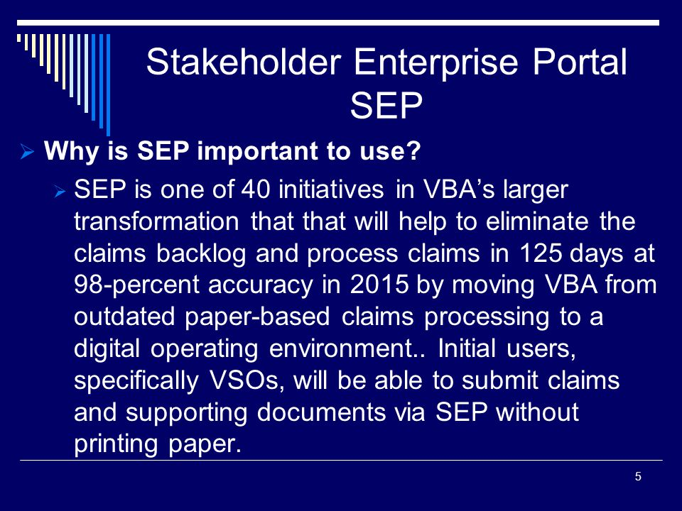 Stakeholder Enterprise Portal SEP