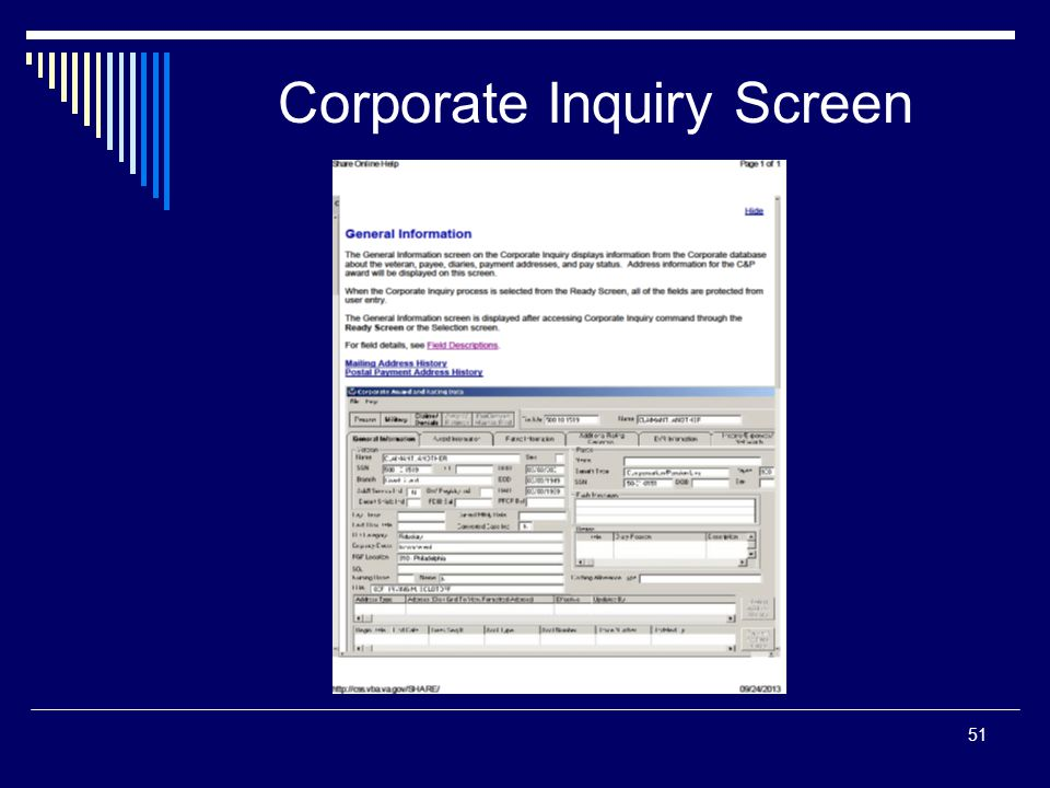 Corporate Inquiry Screen