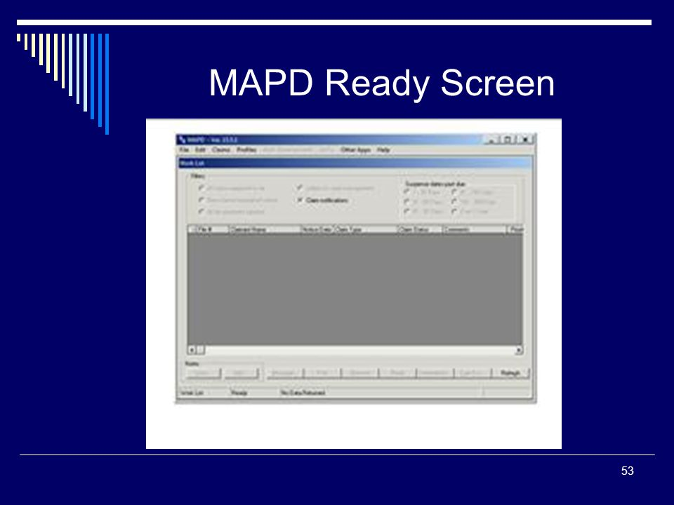 MAPD Ready Screen