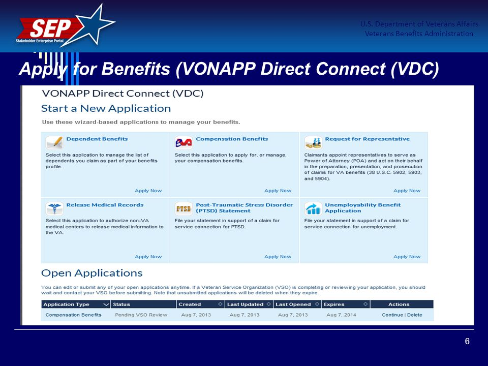 Apply for Benefits (VONAPP Direct Connect (VDC)