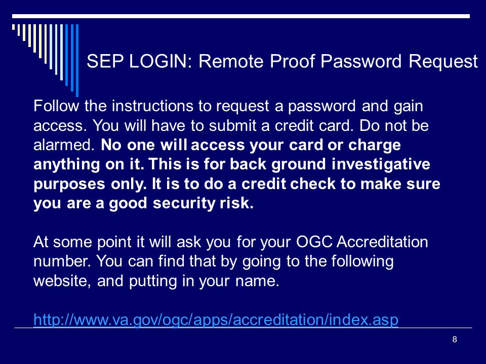 SEP LOGIN: Remote Proof Password Request
