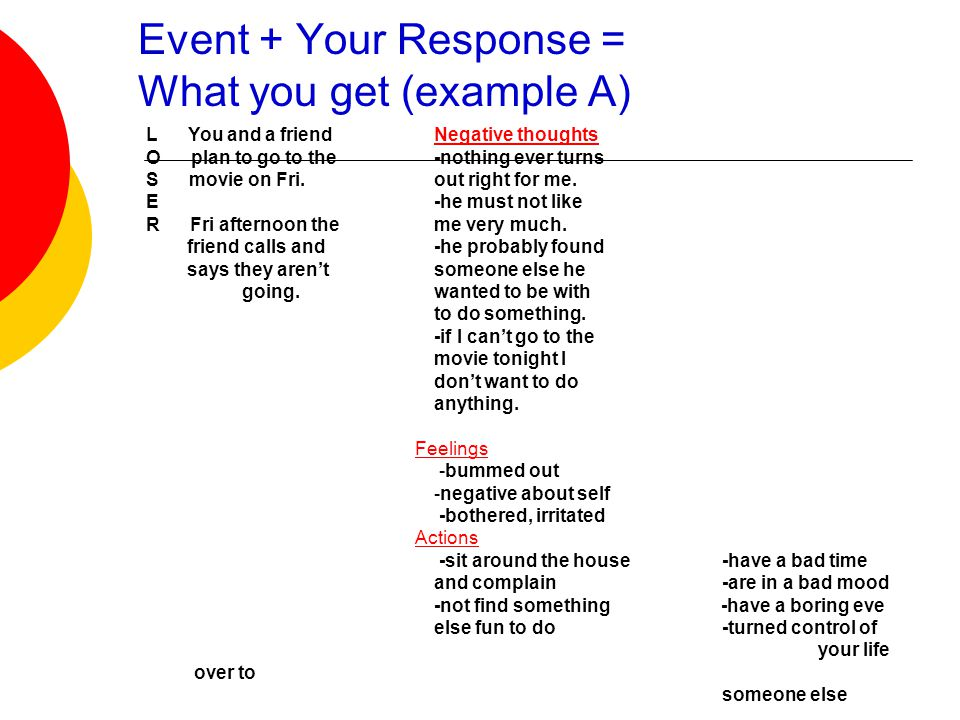 Event + Your Response = What you get (example A)