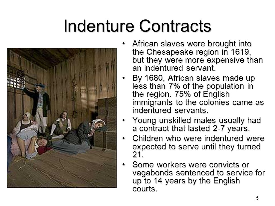 Indenture Contracts African slaves were brought into the Chesapeake region in 1619, but they were more expensive than an indentured servant.