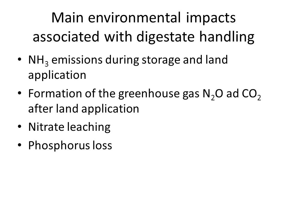 Main environmental impacts associated with digestate handling