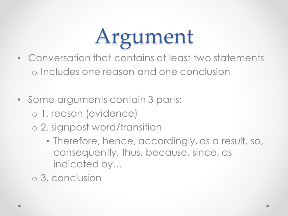 Argument Conversation that contains at least two statements