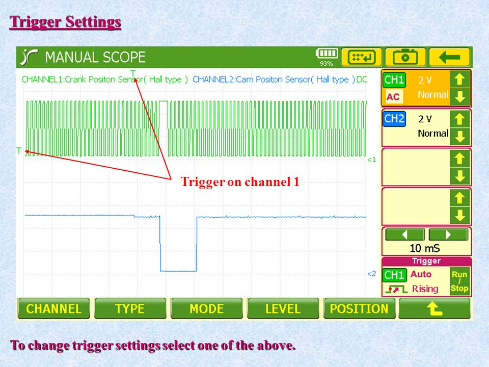 Trigger Settings Trigger on channel 1