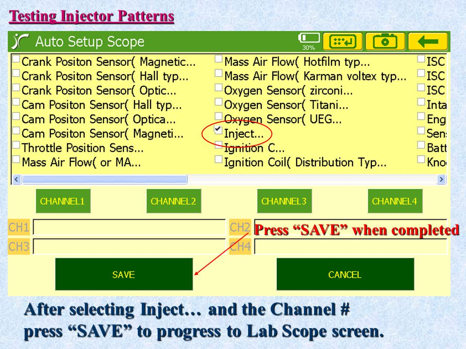 After selecting Inject… and the Channel #