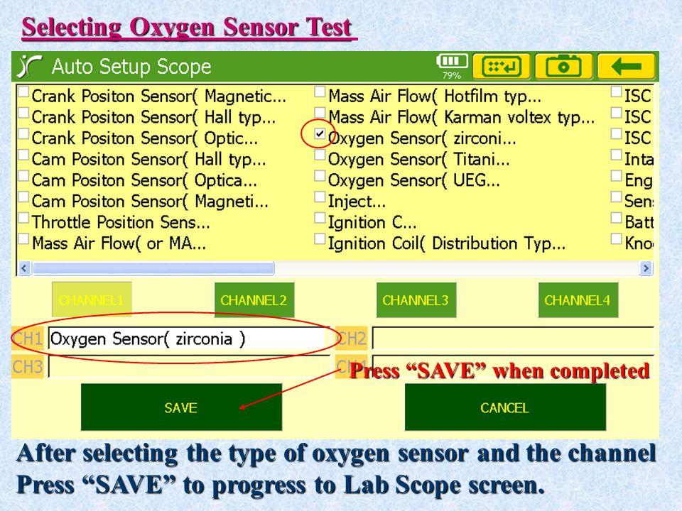 Selecting Oxygen Sensor Test