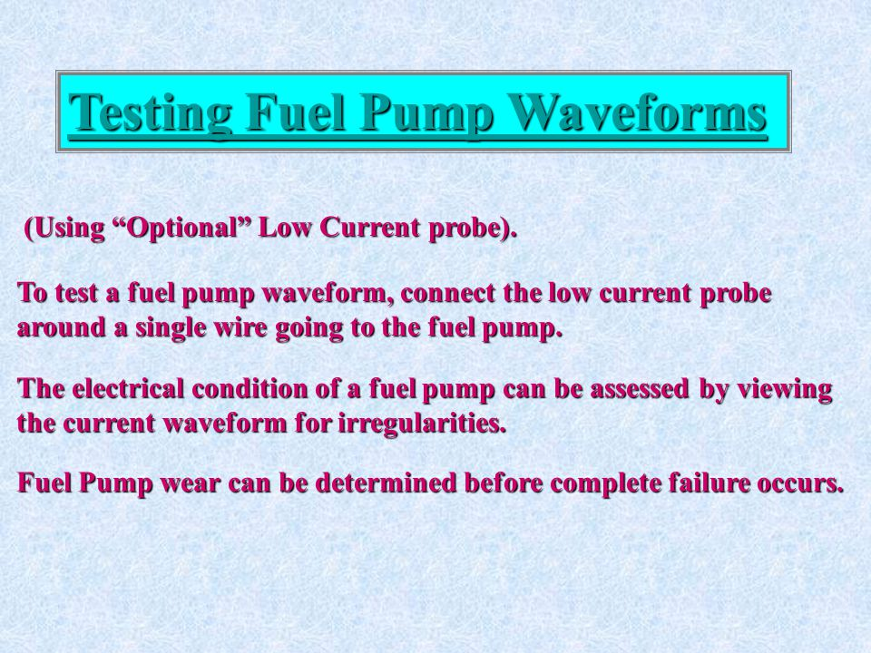 Testing Fuel Pump Waveforms