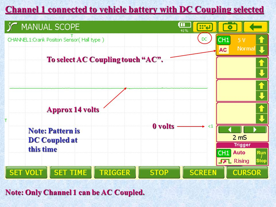 Channel 1 connected to vehicle battery with DC Coupling selected