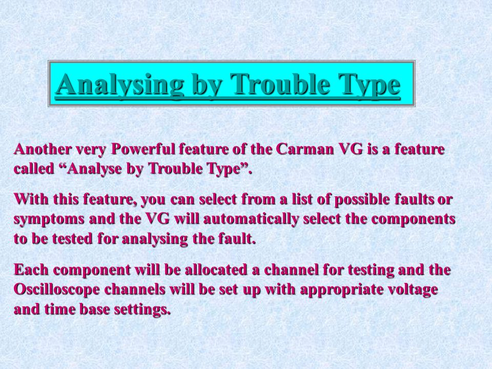 Analysing by Trouble Type