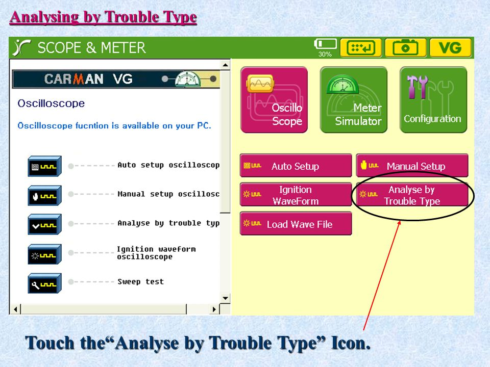 Touch the Analyse by Trouble Type Icon.
