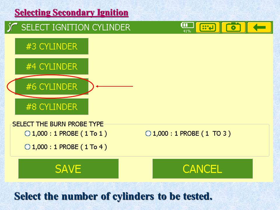 Select the number of cylinders to be tested.