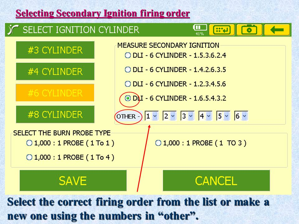 Select the correct firing order from the list or make a