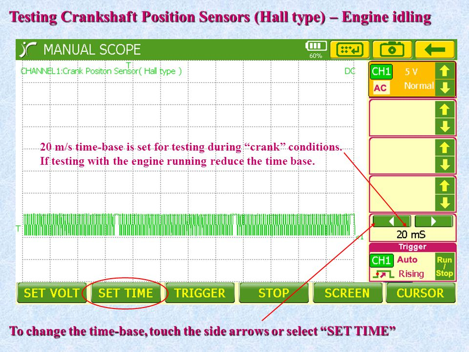 Testing Crankshaft Position Sensors (Hall type) – Engine idling