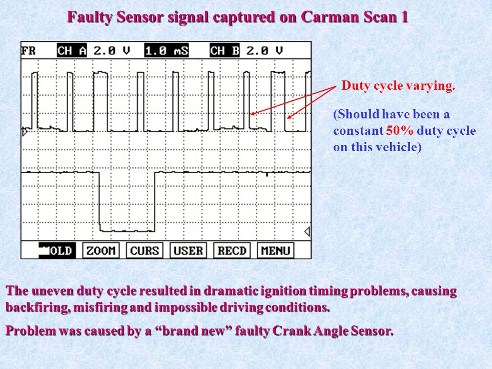 Faulty Sensor signal captured on Carman Scan 1