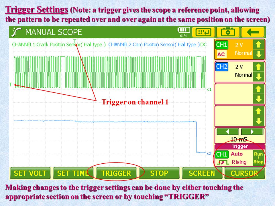 Trigger Settings (Note: a trigger gives the scope a reference point, allowing