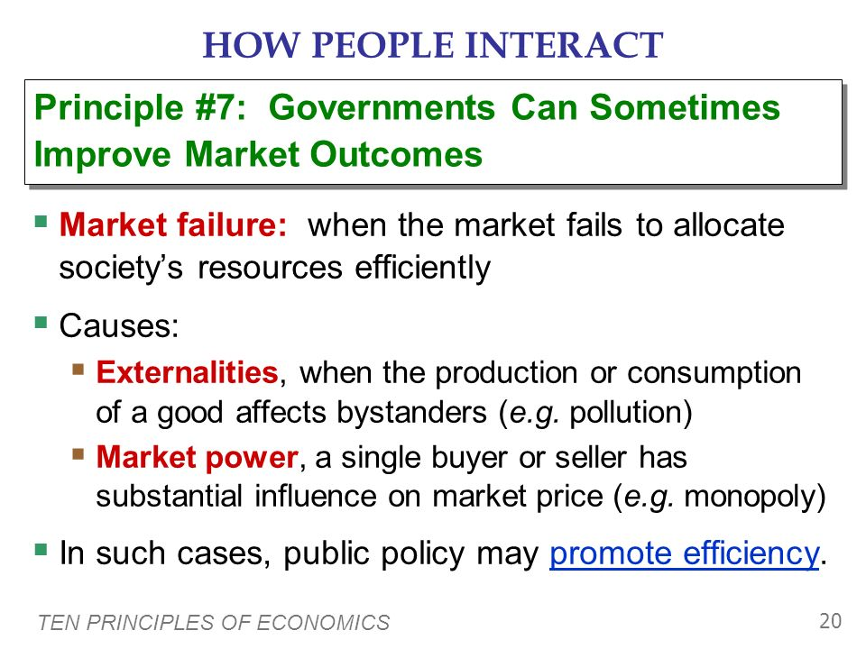 HOW PEOPLE INTERACT Principle #7: Governments Can Sometimes Improve Market Outcomes.