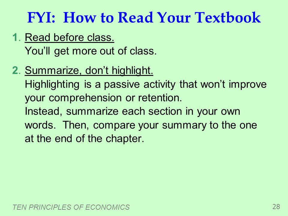 FYI: How to Read Your Textbook