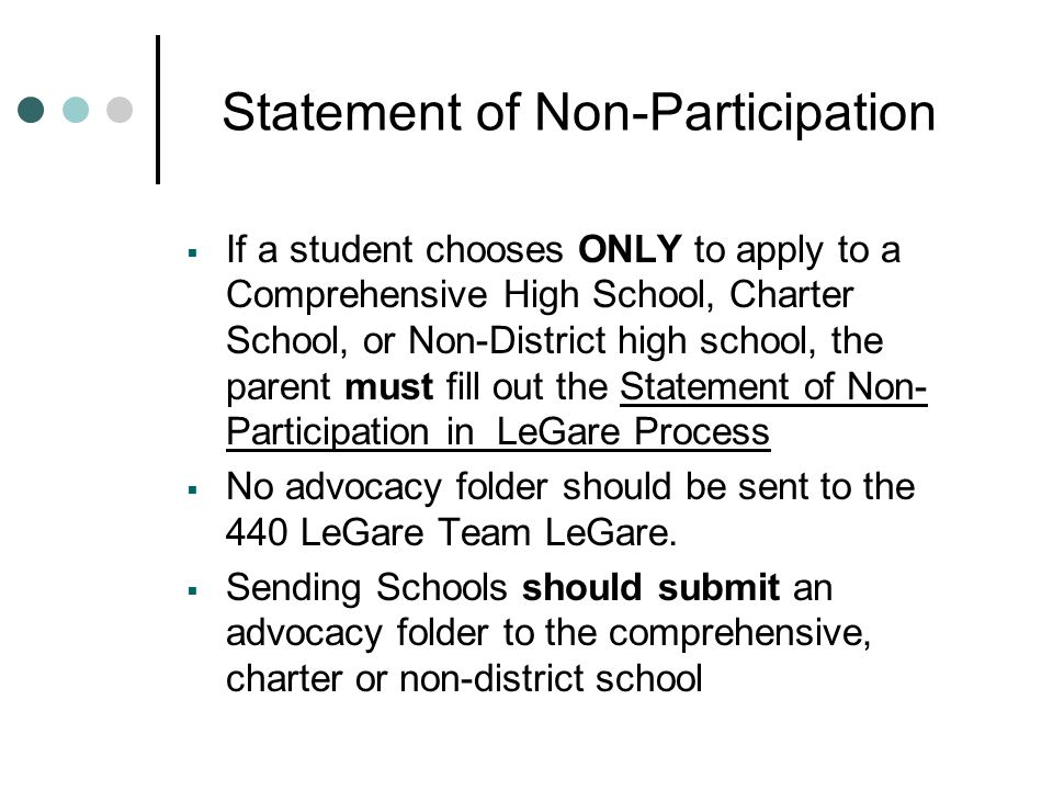 Statement of Non-Participation