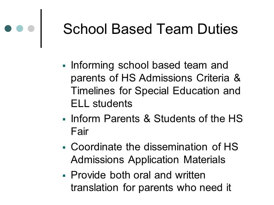 School Based Team Duties