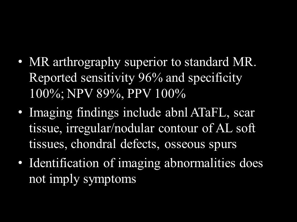 MR arthrography superior to standard MR