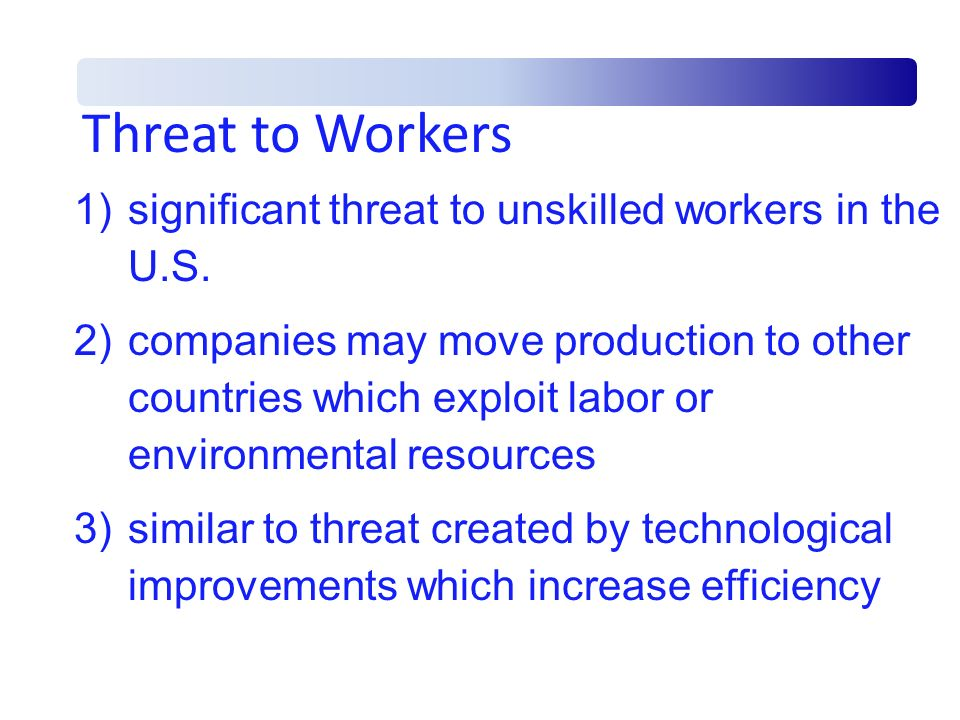 Threat to Workers significant threat to unskilled workers in the U.S.