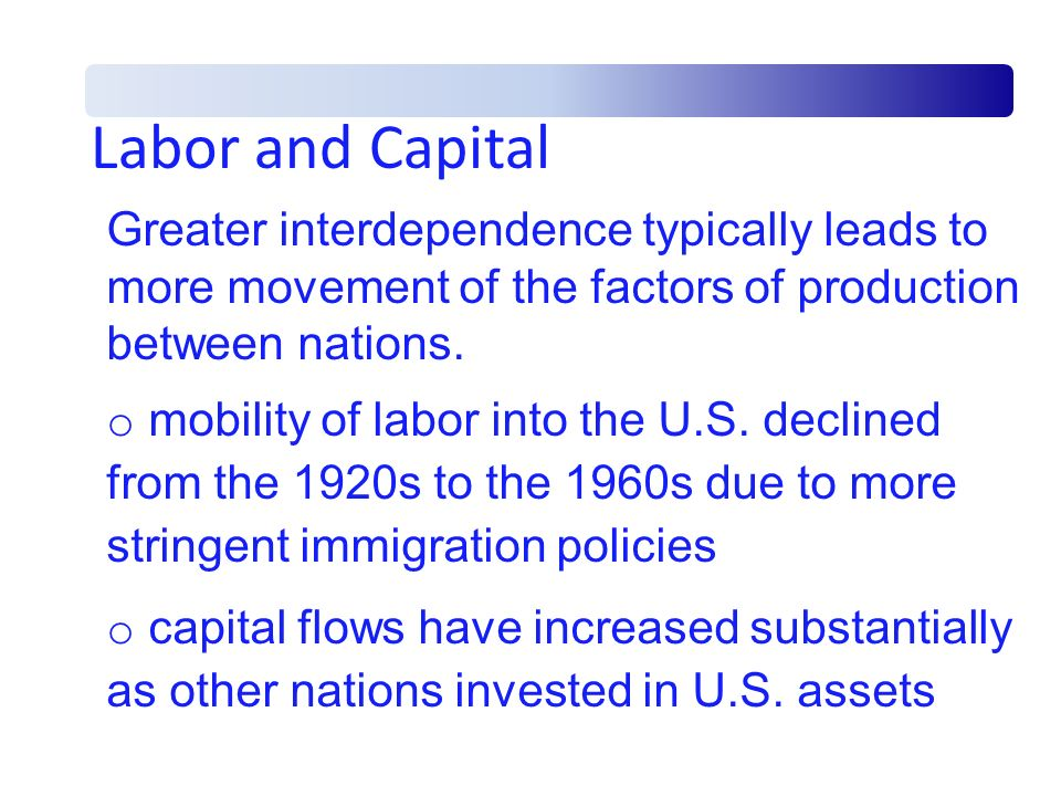 Labor and Capital Greater interdependence typically leads to more movement of the factors of production between nations.