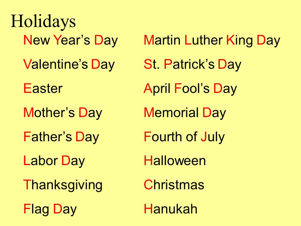 Holidays New Year's Day Martin Luther King Day