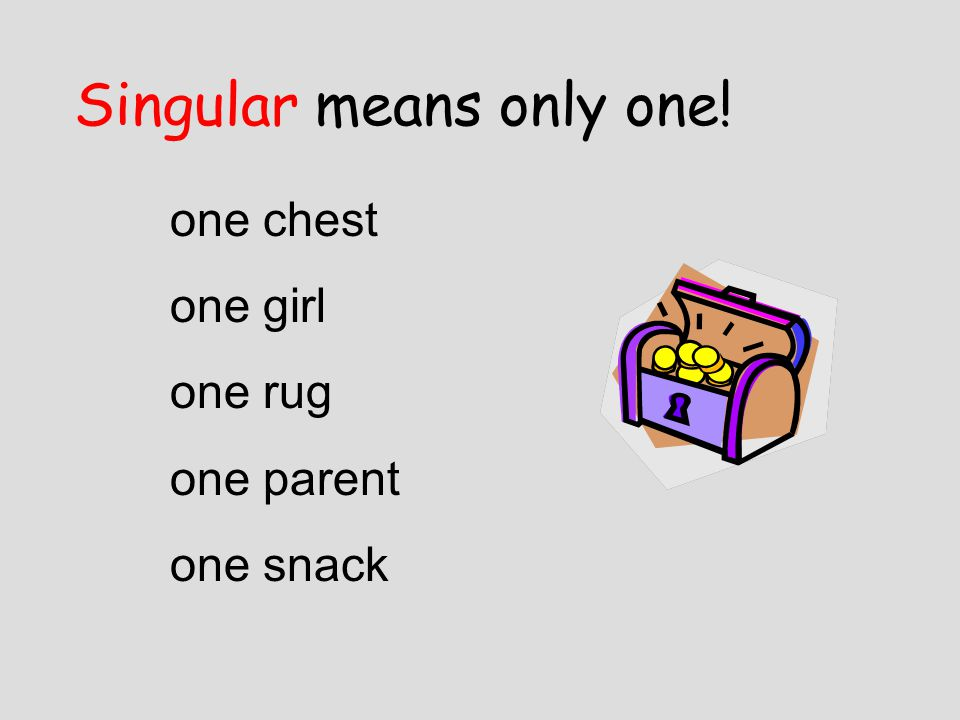 Singular means only one!
