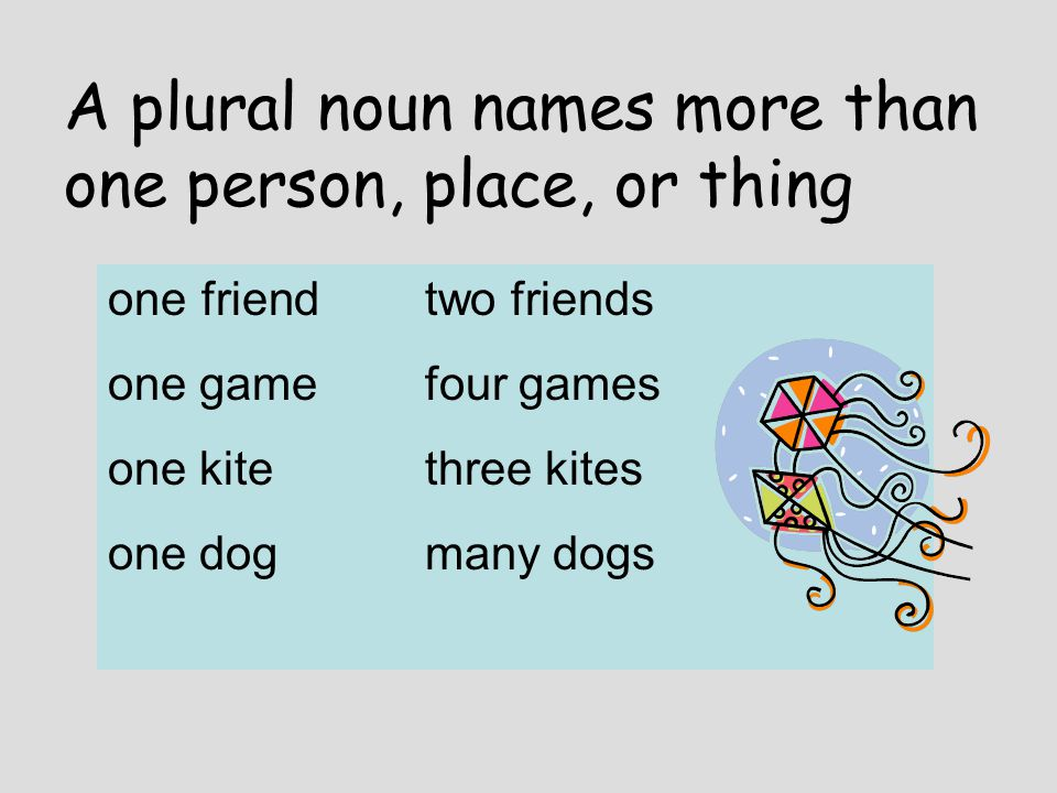 A plural noun names more than one person, place, or thing